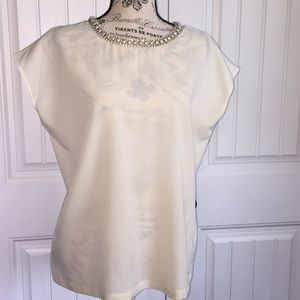 Jeweled neckline blouse